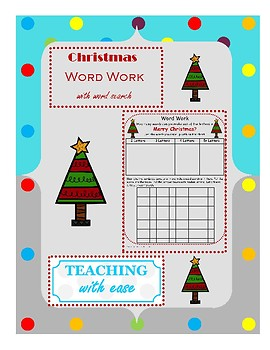 Merry Christmas: Making Words and Word Search Extension Activity
