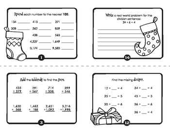 Merry Christmas Math Review Mini Book