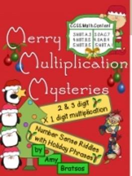 Merry Christmas Mystery Multiplication-Multiplying 2 & 3 Digit Numbers