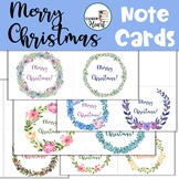 Merry Christmas Note Cards - Floral Wreaths Design