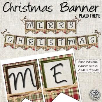 Merry Christmas Plaid and Raffia Banner