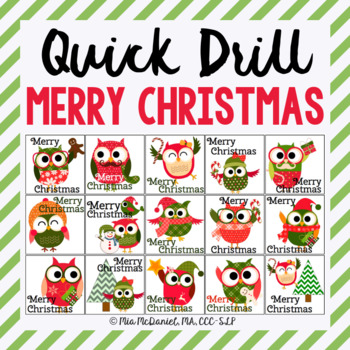 Merry Christmas Quick Drill {for articulation or fluency therapy & Rti}