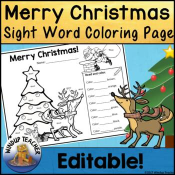 Merry Christmas! Sight Word Activity Sheet  *Editable*