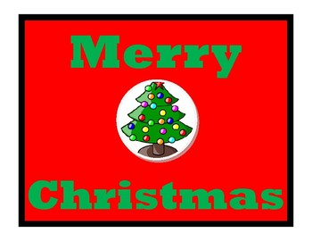 Merry Christmas Sign 8.5 by 11