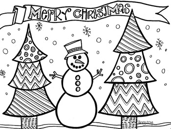 Merry Christmas Snowman Coloring Sheet