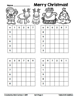 Merry Christmas Table Drill Addition! Christmas Addition FUN! (Black Line)