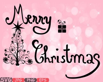 Merry Christmas Word Art Clip Art Snow Gift Santa Christ Tree Green Shirt 448s