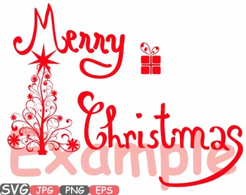 Merry Christmas Word Art Clip Art Snow Gift Santa Christ Tree Green Shirt 448s