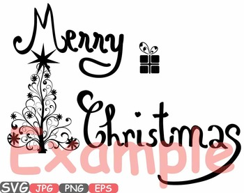 Merry Christmas Word Art clip art snow gift santa christ tree green Shirt -448s