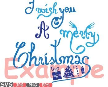 Merry Christmas Word Art clip art snow gift santa christ tree green Shirt -457s