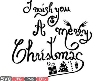 Merry Christmas Word Art clip art snow gift santa christ t
