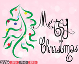 Merry Christmas Word Art clip art snow gift santa christ tree green Shirt -540s