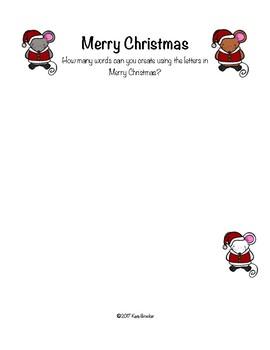 Merry Christmas Word Game