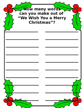 Merry Christmas Word Generator Worksheet