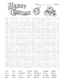 Merry Christmas Word Search (difficult) + Coloring  (could use in SUB PLAN?)