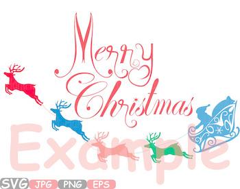 Merry Christmas clipart Santa Claus Rudolf Santas sleigh toys sack reindeer 535s