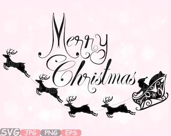 Merry Christmas clipart Santa Claus Rudolf Santas sleigh t