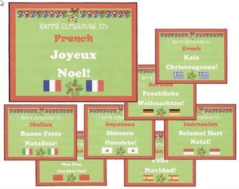 Merry Christmas in 8 Languages Posters