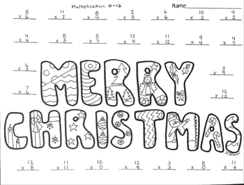 Merry Christmas mixed Multiplication color page