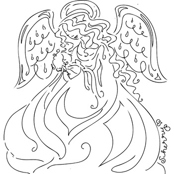 Merry Christmas or Happy Mother's Day Angel & Baby Coloring Page Clip Art