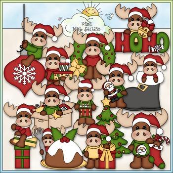 Merry Christmoose Clip Art - Christmas Clip Art - CU Clip Art & B&W