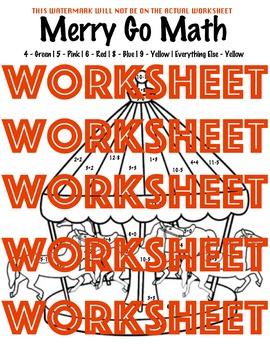 Merry Go Math Coloring Sheet 1st Grade 2nd Grade Kindergarten Preschool PreK