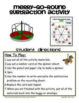 Merry-Go-Round Subtraction Activity