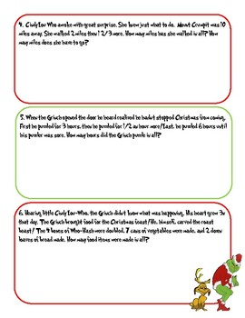 Merry Grinchmas Story Problems
