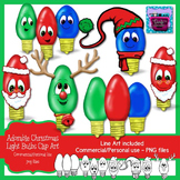 Christmas Light Bulbs Clipart with faces - Santa and Rudolph