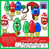 Christmas Light Bulbs Clipart with faces - Santa and Rudolph