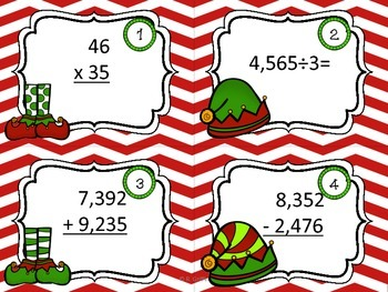 Merry Math with QR Codes Task Cards & Printables (NBT4-6: Add., Sub, Mult., Div)
