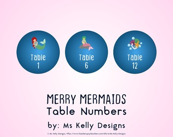 Merry Mermaids 1-12 Table Numbers