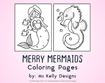 Merry Mermaids 10 Coloring Pages Set