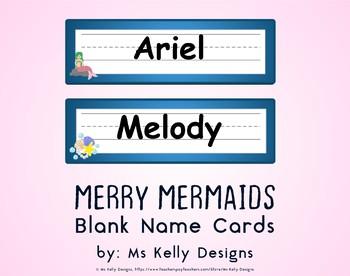 Merry Mermaids Blank Name Cards