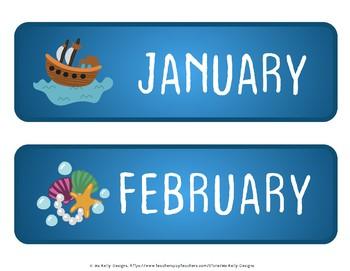 Merry Mermaids Classroom Calendar Set