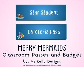 Merry Mermaids Classroom Passes and Badges