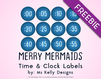 Merry Mermaids Time and Clock Labels