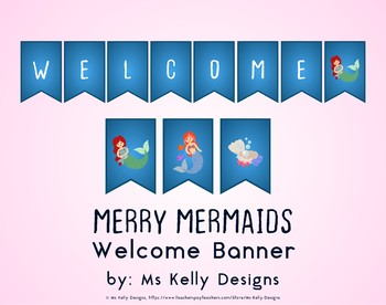 Merry Mermaids Welcome Banner for Classroom