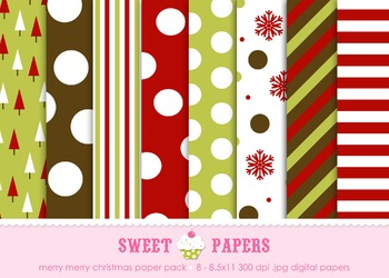 Merry Merry Christmas Digital Paper Pack - by Sweet Papers
