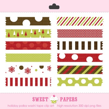 Merry Merry Christmas Washi Tape Digital Clip Art Set - by