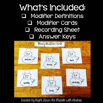 Adjective and Adverb Center Activity {Merry Modifiers- Christmas Activity}