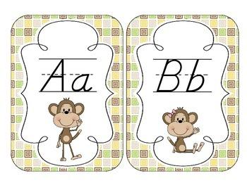 Merry Monkeys Alphabet Cards: D'Nealian Version