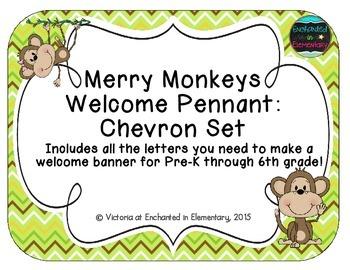 Merry Monkeys Welcome Pennant: Chevron Set