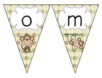Merry Monkeys Welcome Pennant: Squares Set