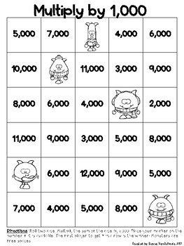 Merry Monster Multiplication 4-in-a-Row