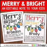 Merry & Oh So Bright FREE NOTE (EDITABLE)