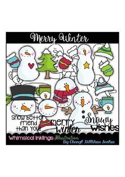 Merry Winter Clipart Collection~Snowmen