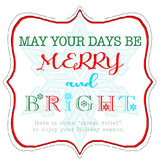 """Merry and Bright Candle gift tag label """"stress relief"""""""