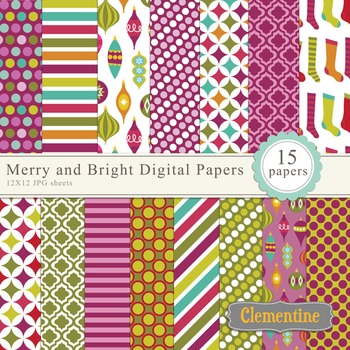 Merry and Bright Christmas digital paper 12x12, digital sc
