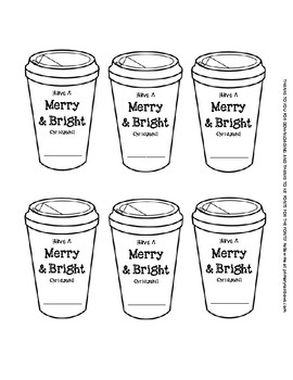 Merry and Bright Holiday Christmas Gift Tags Coffee Themed (hot cocoa)